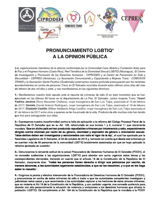 Pronunciamiento LGBTIQ* a la Opinion Pública
